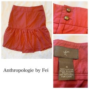 Anthropologie Fei Orange Skirt Size 6